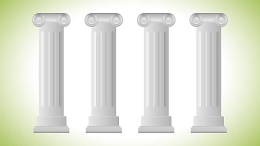 Vier graue Säulen auf grün weißem Hintergrund